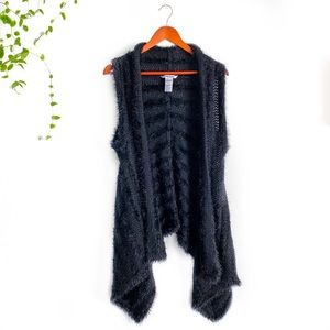 Nygard Hi-Lo Open Sweater Vest with Black Faux Fur